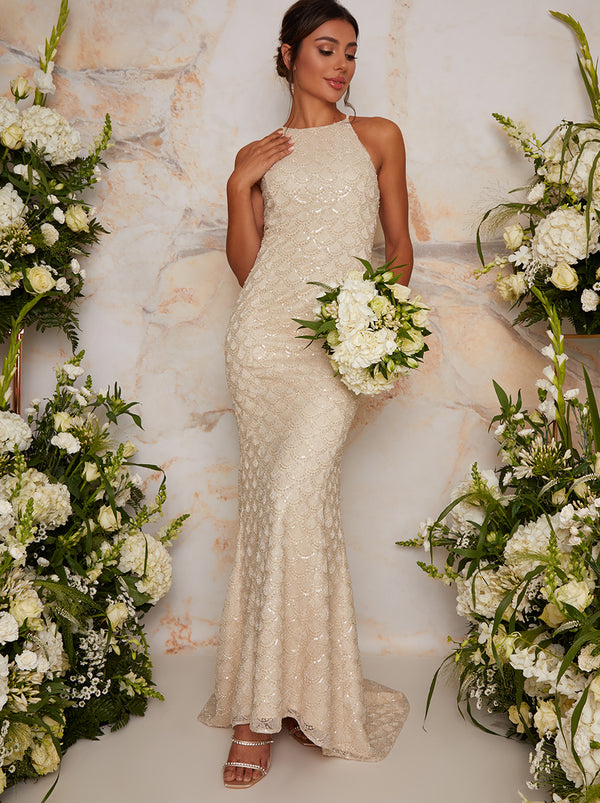 Bridal Halter Style Embellished Wedding Dress in Ivory