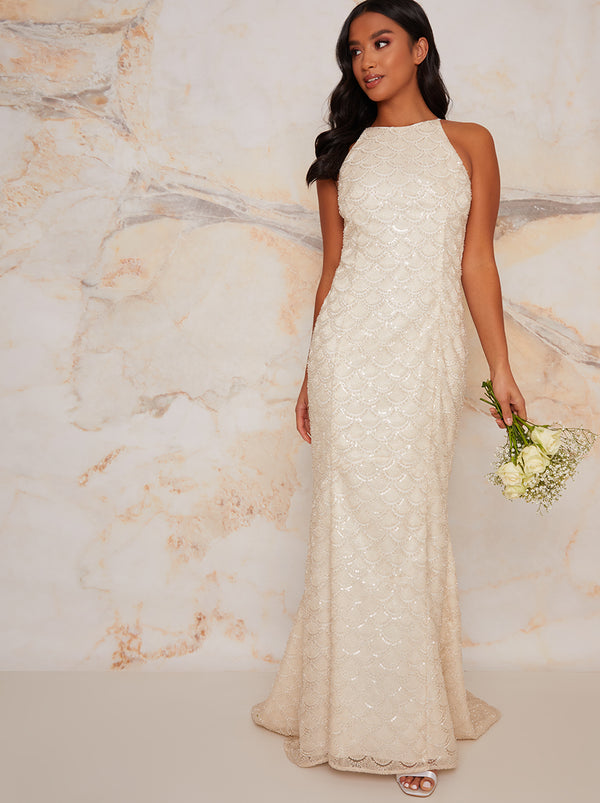 Petite Bridal Halter Embellished Wedding Dress in Ivory