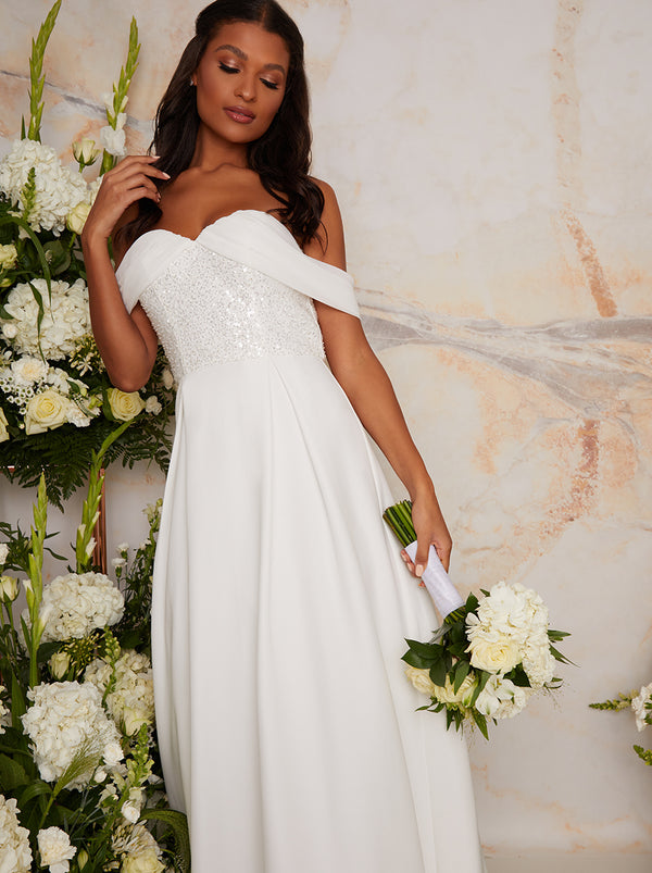 Bridal Sequin Bardot Maxi Wedding Dress in White