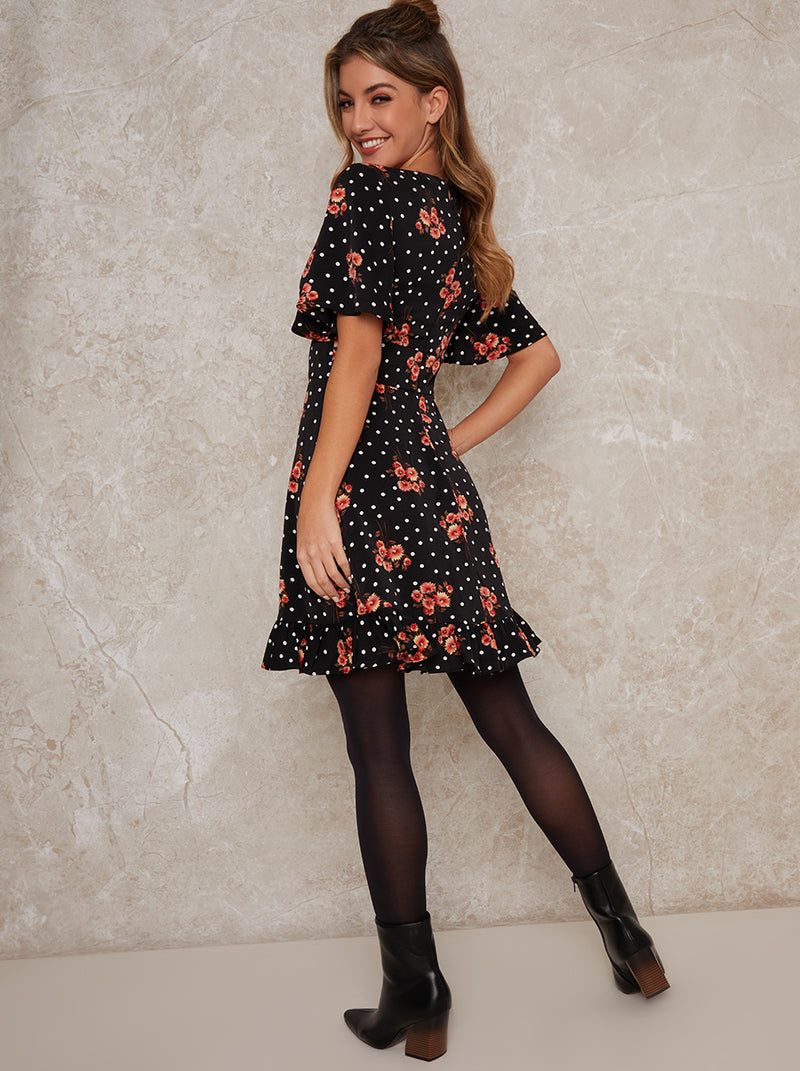 Floral Print Ruffle Hem Mini Dress In Black