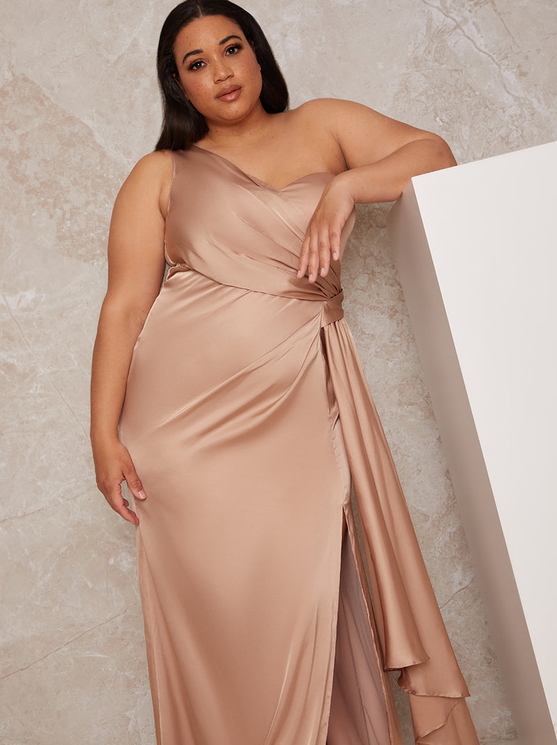 Plus Size One Shoulder Satin Bridesmaid Maxi Dress in Champagne