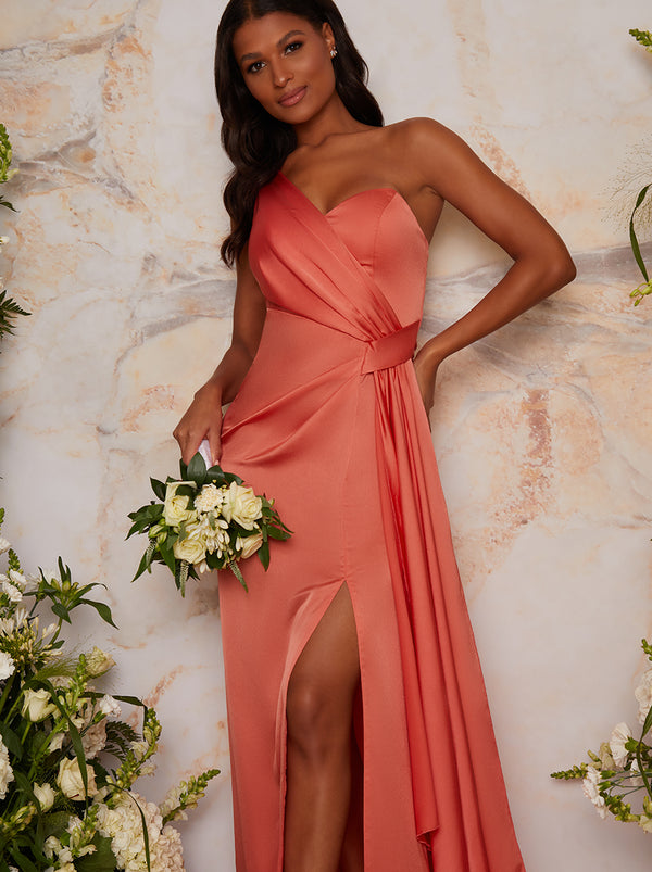 One Shoulder Satin Finish Maxi Bridesmaids Dress in Orange