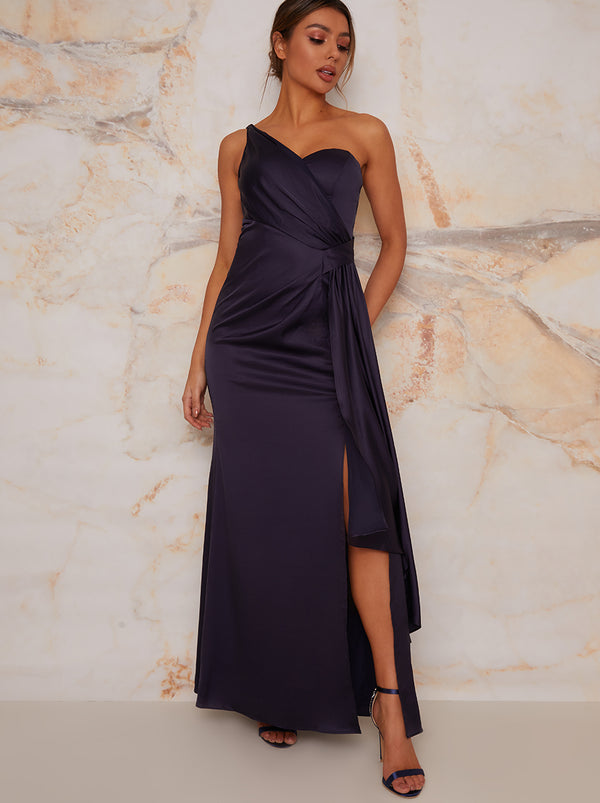 One Shoulder Satin Finish Maxi Bridesmaids Dress in Navy