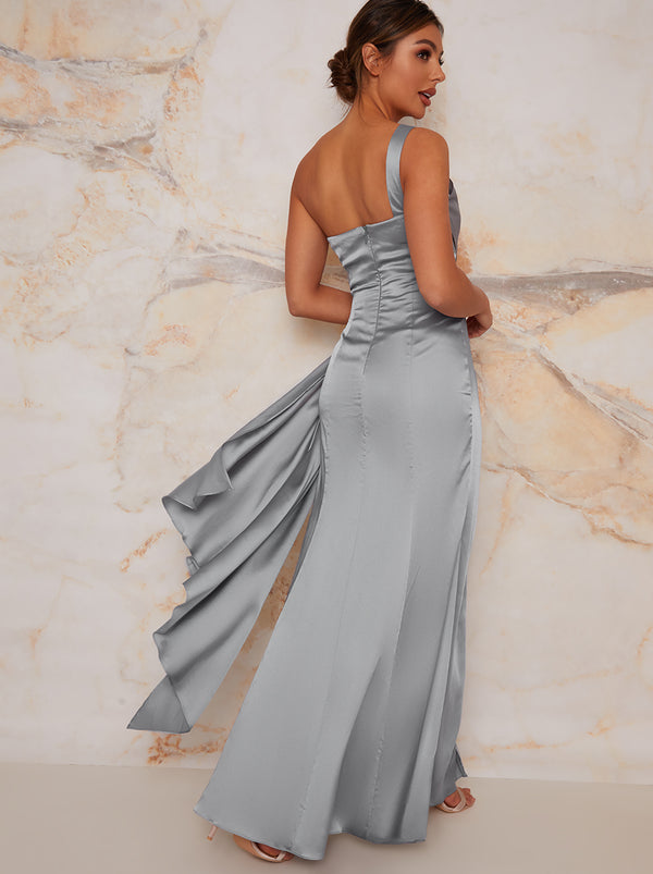 One Shoulder Satin Finish Maxi Bridesmaids Dress in Blue