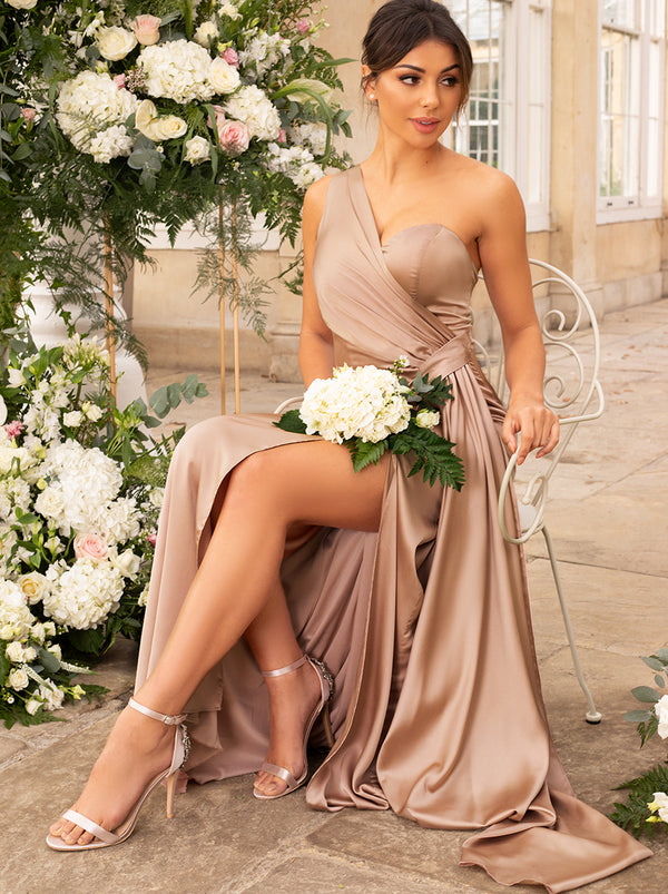 One Shoulder Satin Bridesmaid Maxi Dress in Champagne