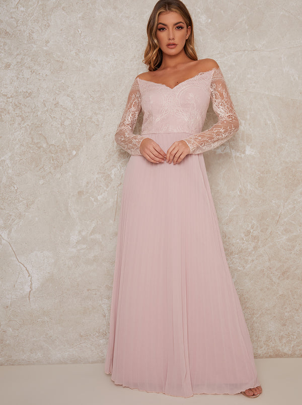 Lace Sleeve Bridesmaid Dress in Pink