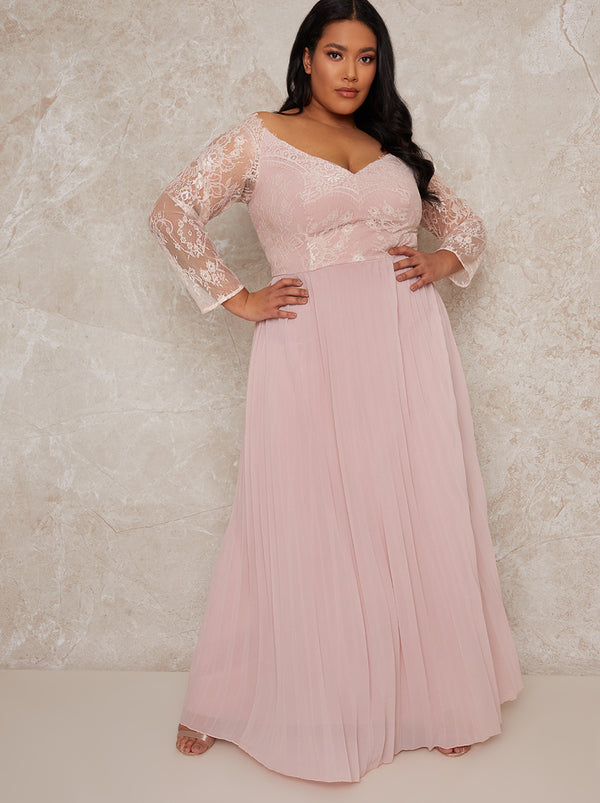 Curve Lace Bridesmaid Maxi Dress With Long Sleeves In Pink