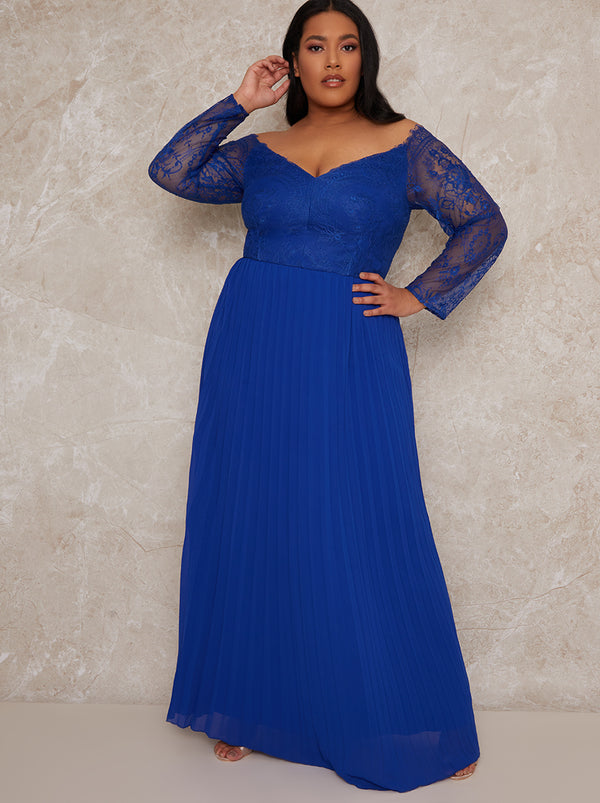 Plus Size Lace Sleeve Bridesmaid Dress in Blue