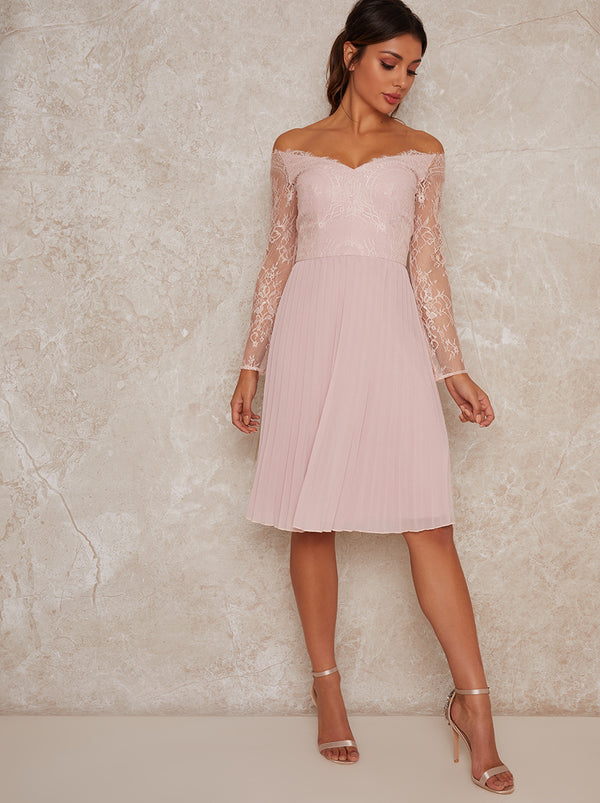 Lace Bardot Midi Bridesmaid Dress In Pink