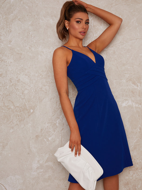 V Neck Midi Cami Dress in Blue