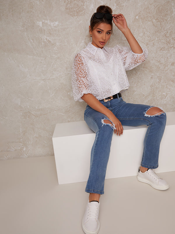Sheer Puff Sleeve Leopard Print Shirt in White