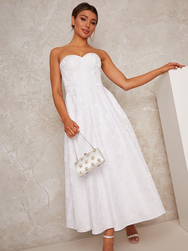 Bridal Strapless Floral Jacquard Midi Dress in White