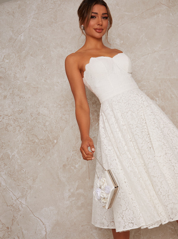 Bridal Strapless Lace Midi Dress in White