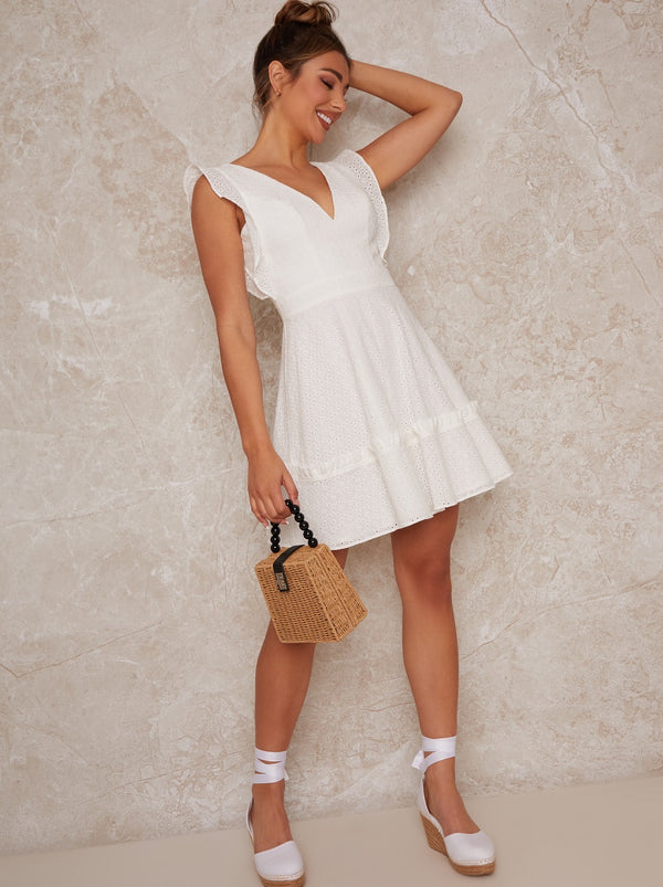 Plunge Broderie Mini Day Dress in White