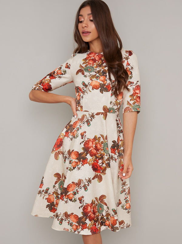 Textured Short Sleeved Floral Midi Dress in Cream