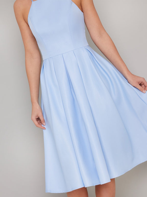 Cami Strap Plain Midi Dress in Blue