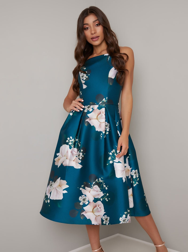 Printed Floral Box Pleat Midi Dress in Green