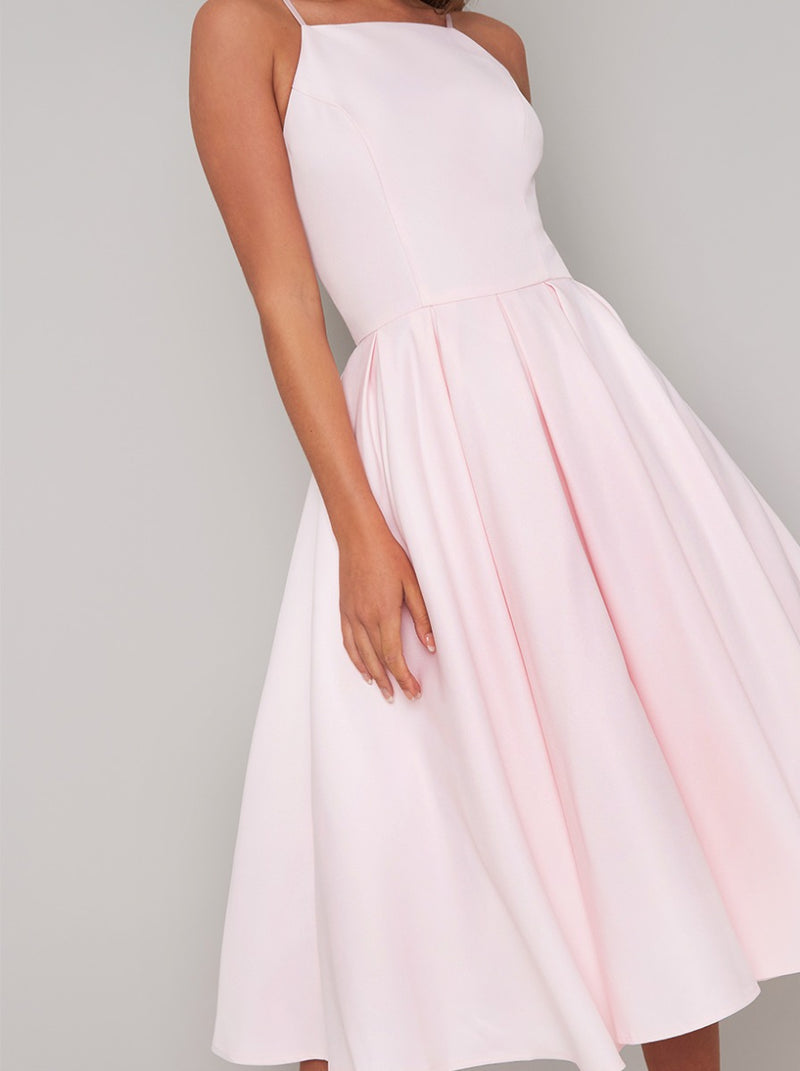 Cami Strap Plain Midi Dress in Pink