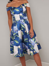 Floral Printed Petite Midi Dress in Blue