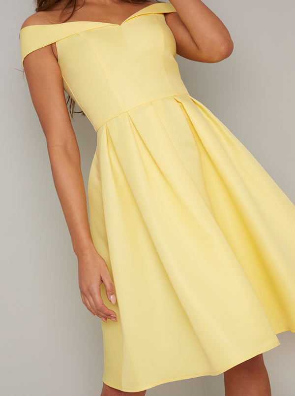 Fold-Over Bardot Pleated Midi Dress in Yellow