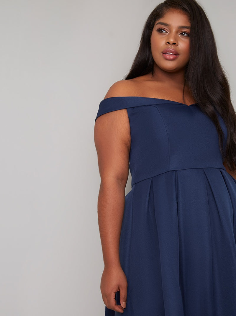 Fold-Over Curve Bardot Midi Dress in Blue