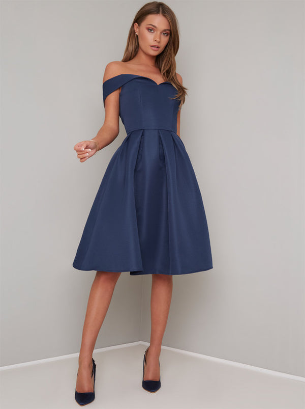 Bardot Plain Midi Dress in Blue