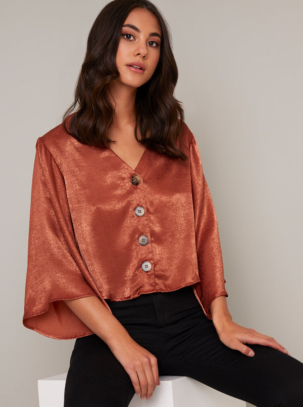 Flare Sleeved Silky Button Shirt in Orange