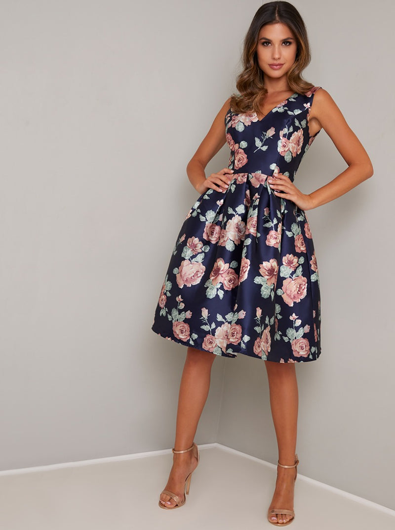 Bold Floral Print Midi Dress in Blue