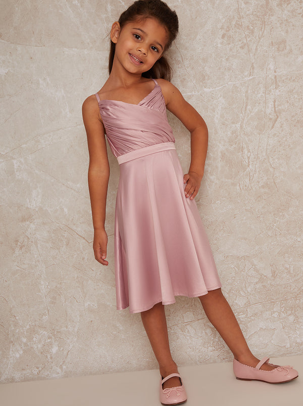 Girls Satin Skater Dress In Pink