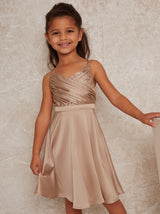 Girls Pleat Bodice Satin Finish Dress in Champagne