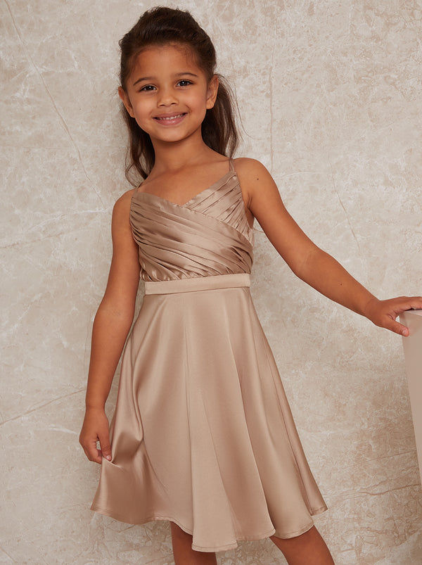 Girls Pleat Bodice Satin Finish Dress in Neutral