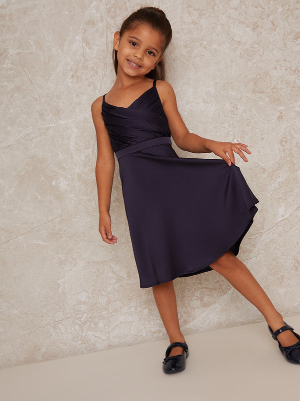 Girls Satin Finish Skater Dress In Navy Blue