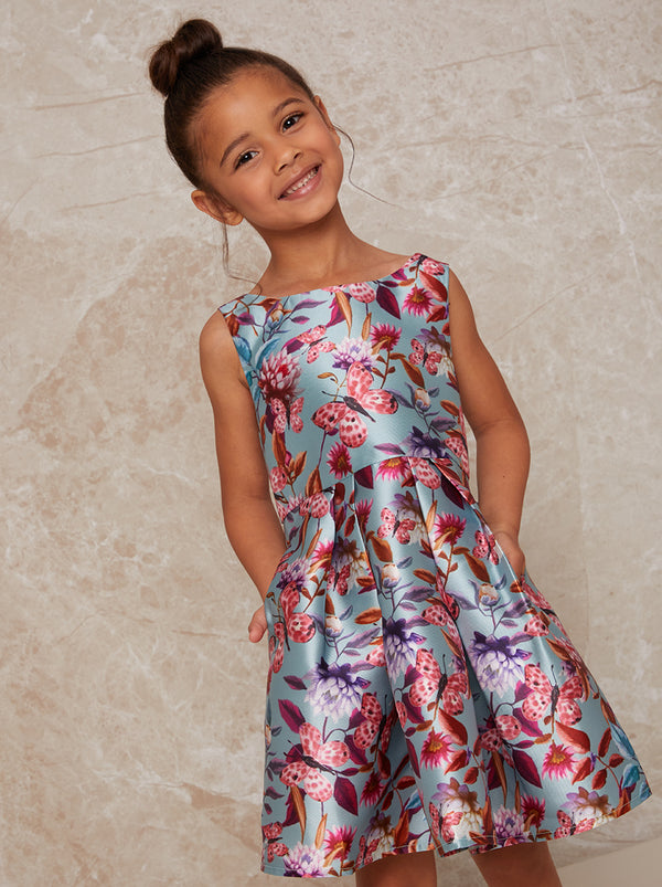 Chi Chi London Girls Sleeveless Floral Print Pleated Dress in Green
