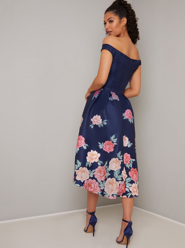 Bardot Neck Floral Dip Hem Midi Dress in Blue
