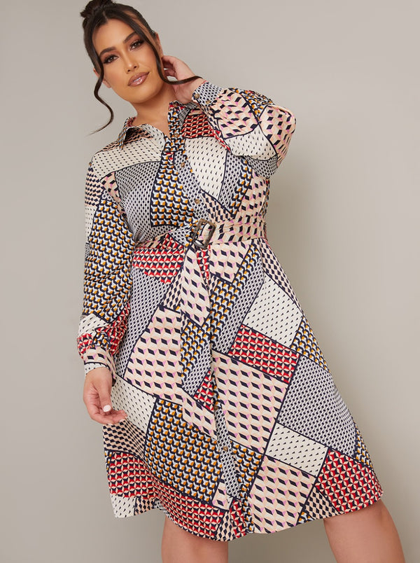 Plus Size Long Sleeved Print Midi Shirt Dress in Multi
