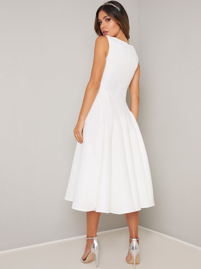 Fitted Bodice Midi Dress in White