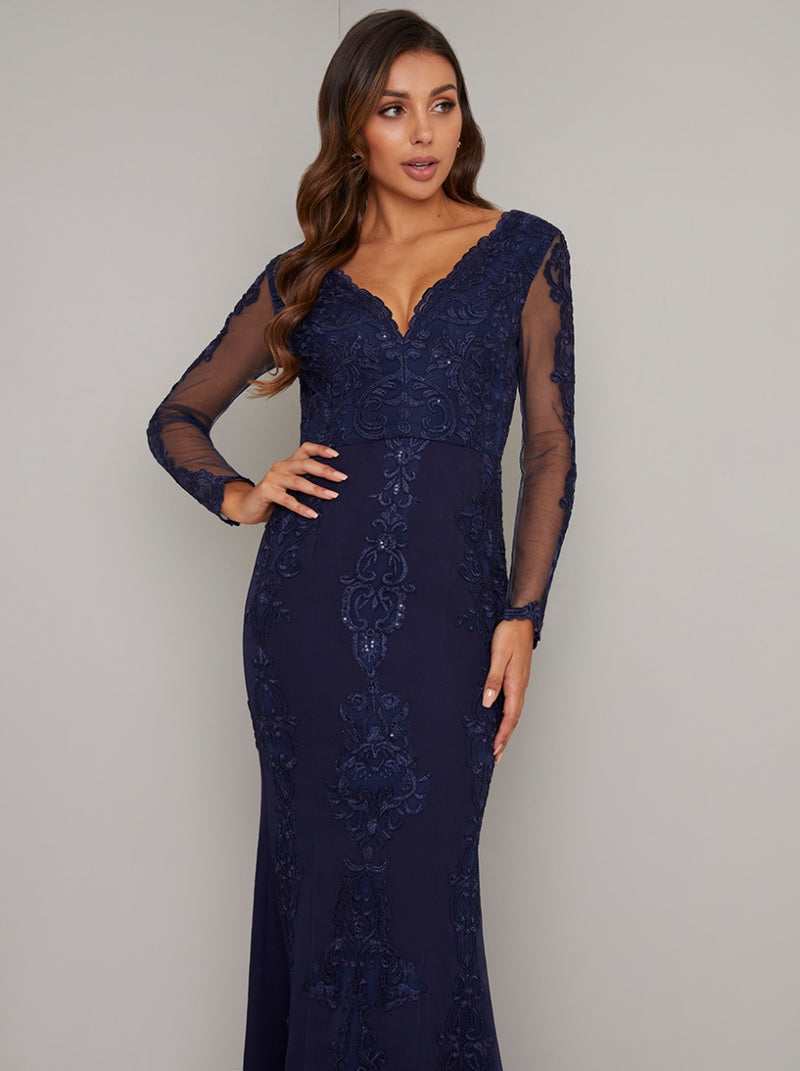 Embroidered Lace Sheer Sleeved Maxi Dress in Blue