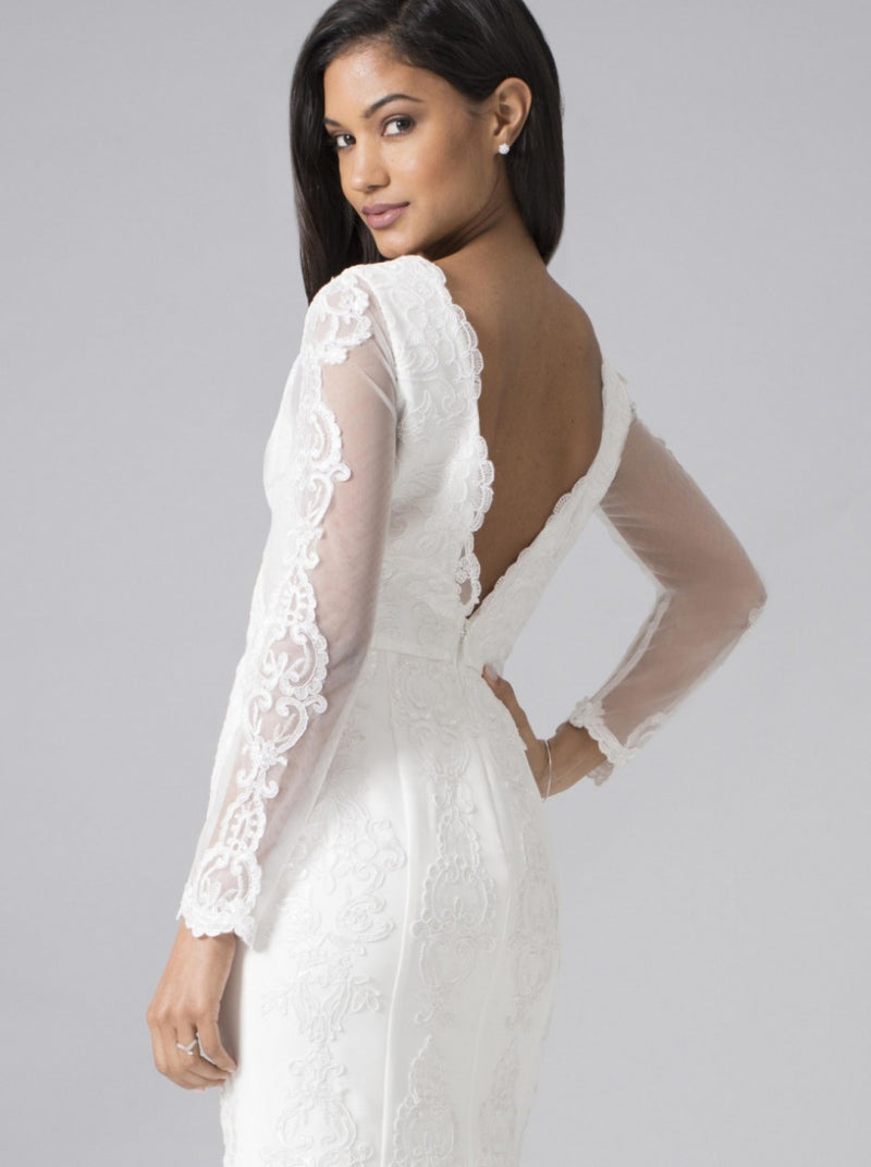 Embroidered Maxi Bridal Dress with Open Back in White