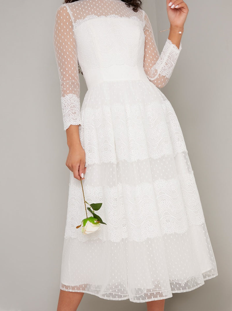 Bridal Lace Embroidered Midi Dress in White