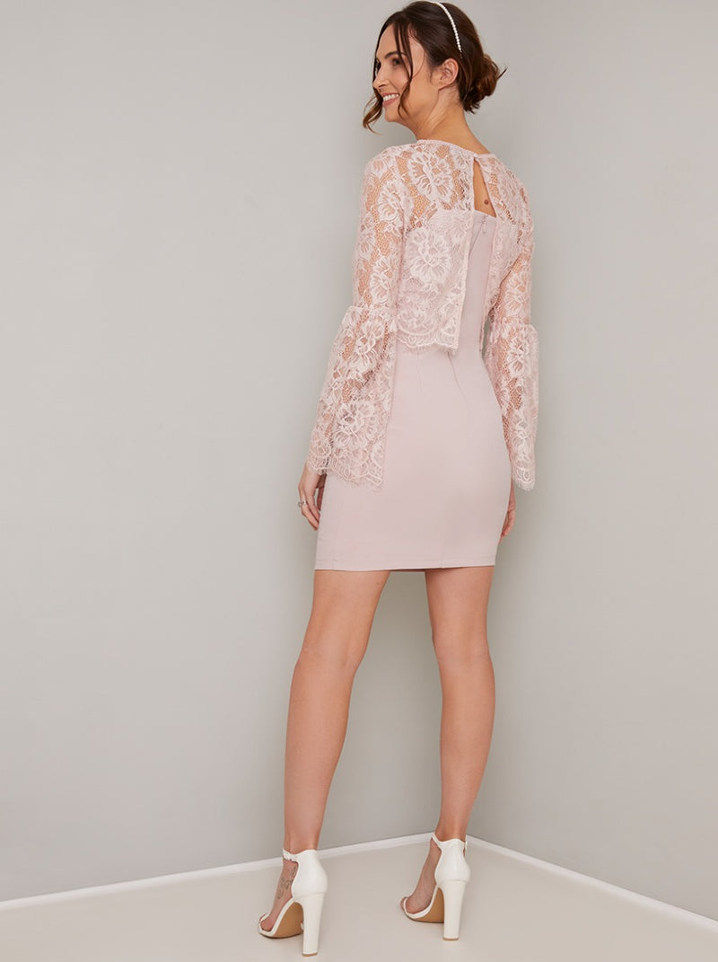 Maternity Lace Overlay Flare Sleeved Dress in Pink