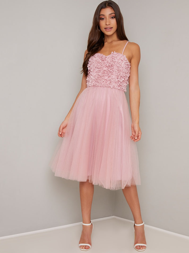 Floral 3D Cami Strap Tulle Midi Dress In Mink
