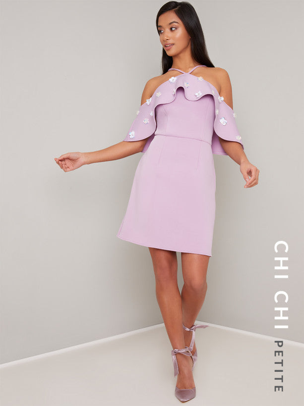 Petite Bardot Frill Mini Dress in Purple