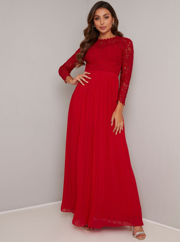 Long Sleeved Lace Bodice Maxi Dress in Red