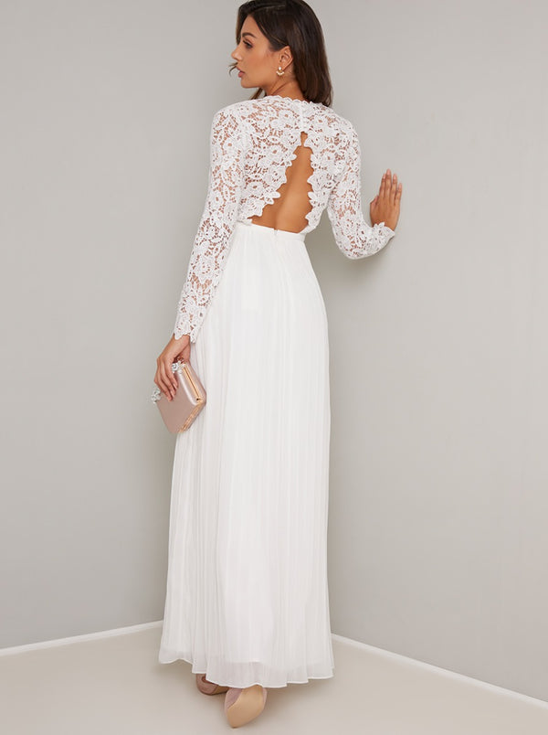 Long Sleeved Lace Detail Pleat Maxi Dress in White
