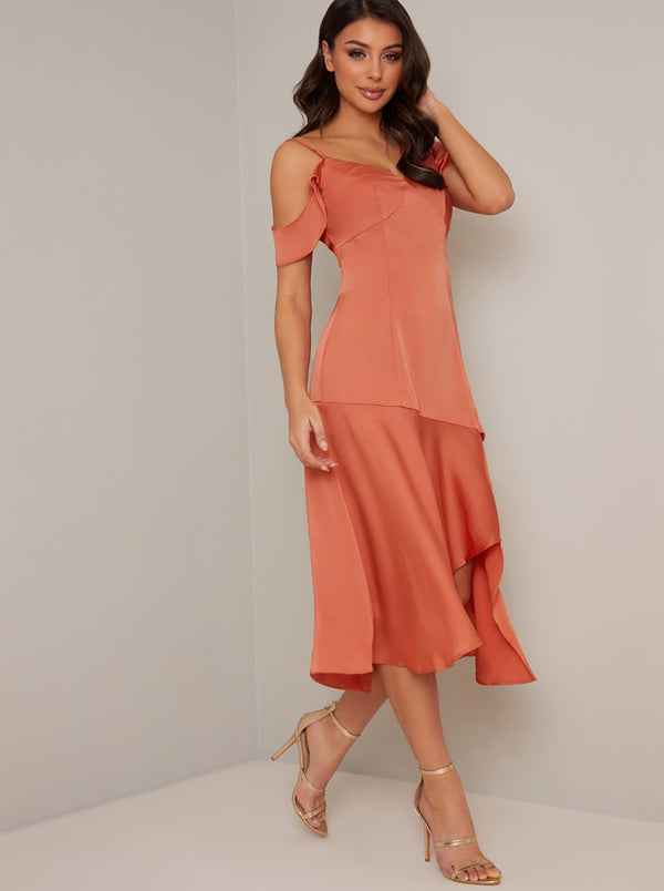 One Shoulder Graduated Hem Midi Dress in Orange