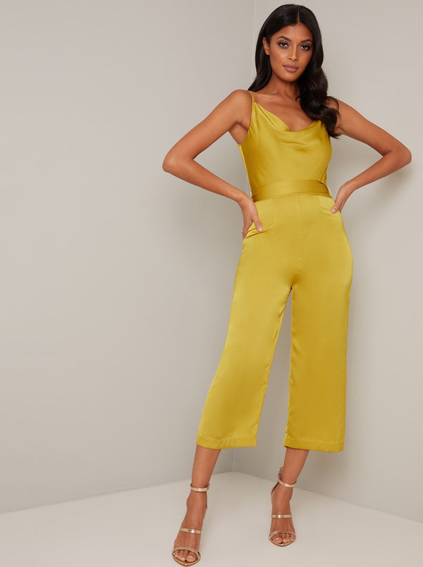 Cowl Neck Crop Leg Jumpsuit in Yellow