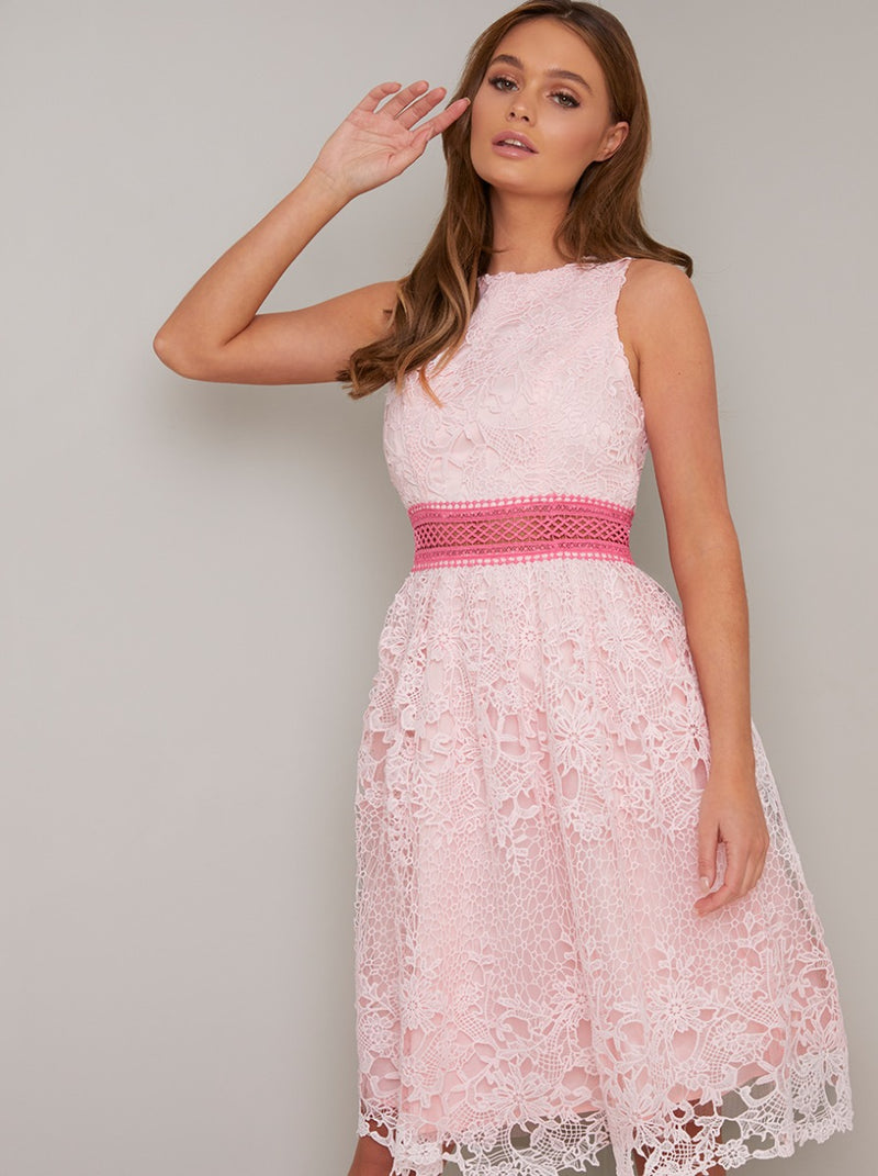 Crochet Lace Overlay Midi Dress in Pink