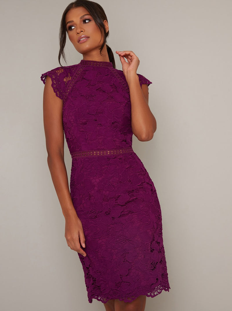 Lace High Neck Bodycon Midi Dress in Red