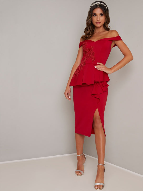 Fitted Bodice Peplum Design Bodycon Dress in Red