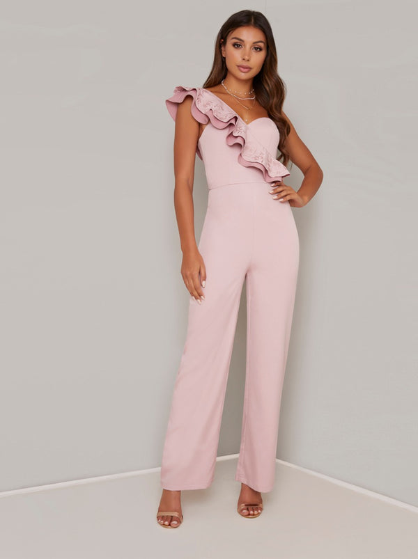Ruffle Detail Wide Leg Jumpsuit in Pink